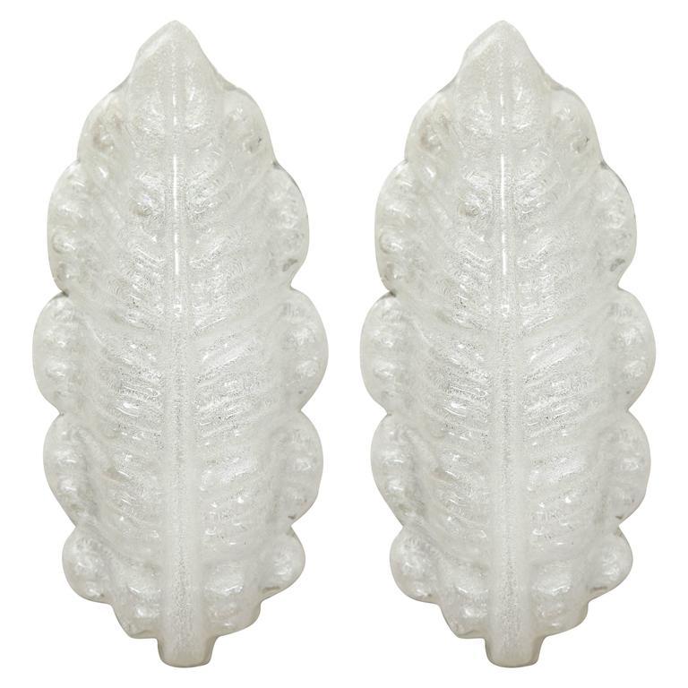 Kaiser Ice Glass Leaf Sconces