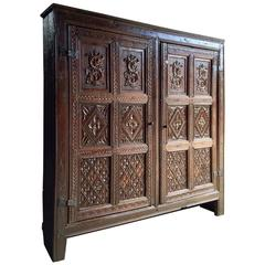 Antique Linen Hall Cupboard Heavily Carved Oak, 17th Century, Charles II