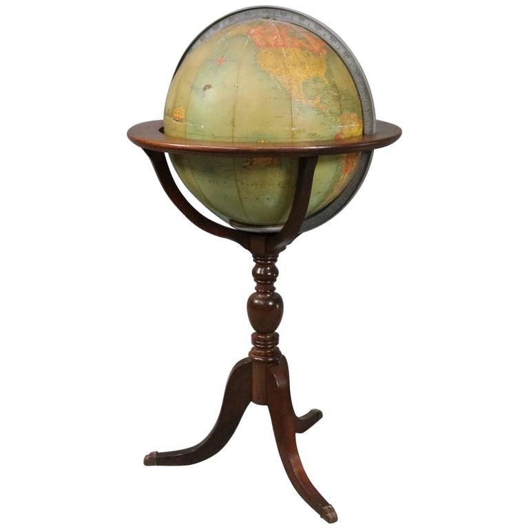 Vintage Illuminated Library World Globe On Floor Stand