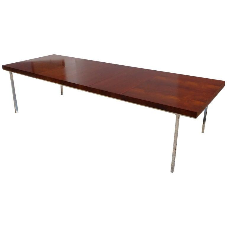 John Stuart Walnut Dining Table with Polished Aluminum Legs For Sale