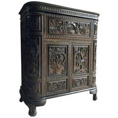 Antique Style Chinese Cocktail Cabinet Drinks Bar Heavily Carved