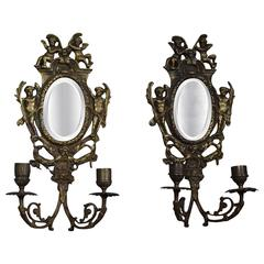 Antique Pair of Cast Bronze Wall Sconces / Candelabras with Oval Beveled Mirrors