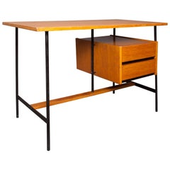French 20th Century Desk 1960s Made of Oak Veneer and Metal