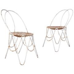 Pair of 20th Century French Garden Chairs Made of Enameled Iron
