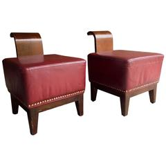 French Art Deco Cocktail Stools Chairs Club Art Deco Leather, 1930, Pair
