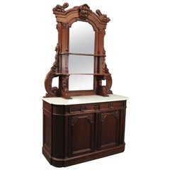 Antique Renaissance Revival Carved Walnut & Marble Mirrored Sideboard circa 1880