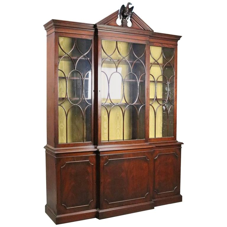 Antique Federal Style Handmade Mahogany Two-Piece Breakfront ...