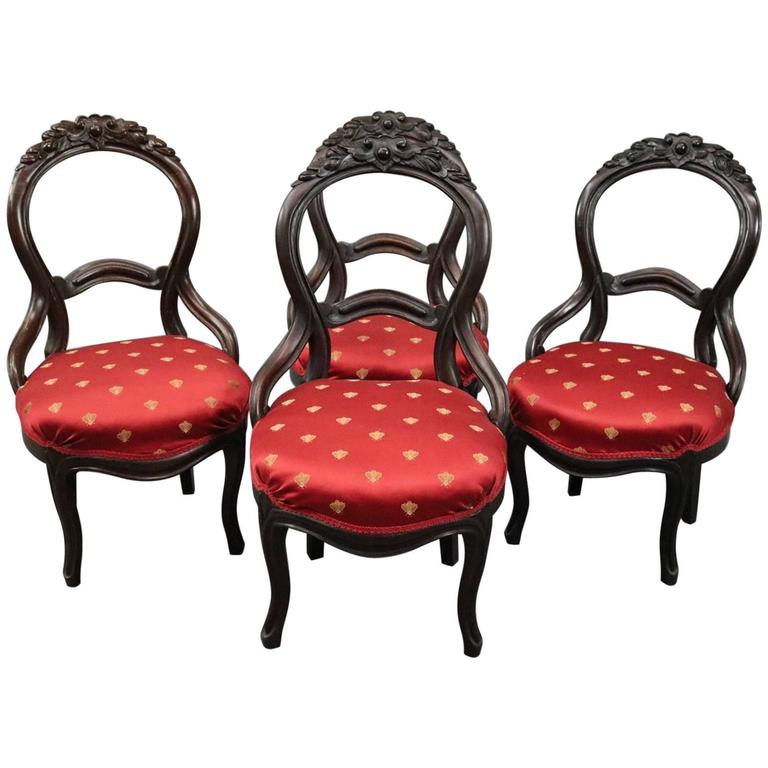 Four Antique Carved Walnut Balloon Back Upholstered Parlor Chairs, circa  1880 For Sale - Four Antique Carved Walnut Balloon Back Upholstered Parlor Chairs