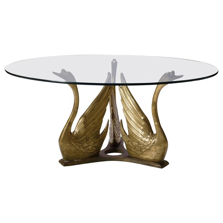 French Brass Seated Swan Base Cocktail Table