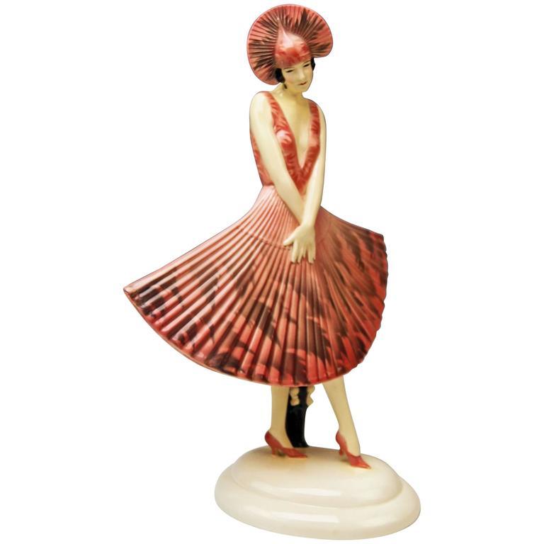 Goldscheider Vienna Stefan Dakon Spanish Lady Dancer Fan-Shaped Dress 1