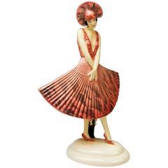 Goldscheider Vienna Stefan Dakon Spanish Lady Dancer Fan-Shaped Dress