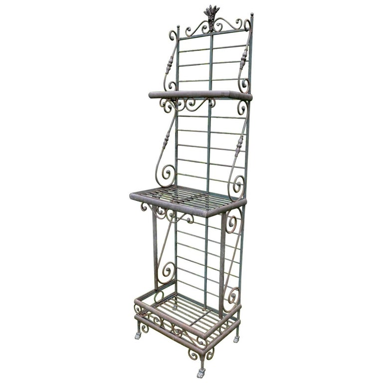Wrought Iron and Brass Baker's Rack For Sale