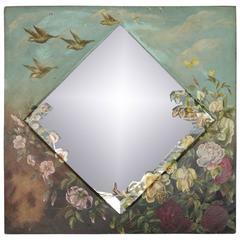 Antique Aesthetic Movement Hand-Painted Wall Mirror, Garden Scene, circa 1920