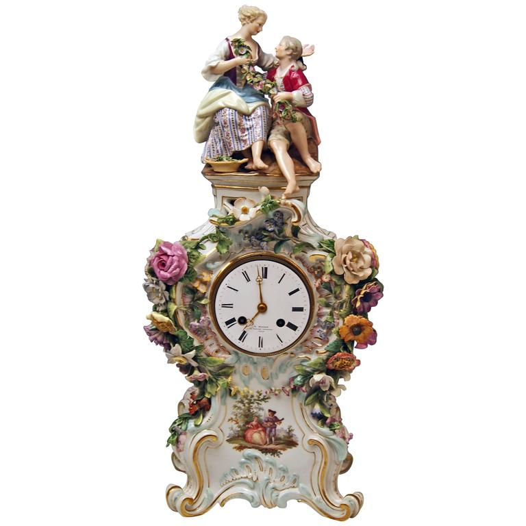 Meissen Mantle Table Clock Paintings Sculptured Figurines Flowers, circa 1860 1