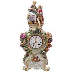 Meissen Mantle Table Clock Paintings Sculptured Figurines Flowers, circa 1860