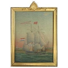 British Oil on Board Maritime Painting of Tall Mast Sailing Ship, circa 1870