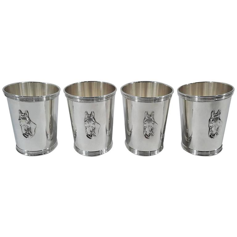 Set Of Four Trees Sterling Silver Horse Head Mint Juleps