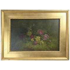 Antique Oil on Board Painting of Wild Roses on Forrest Floor, Gilt Frame