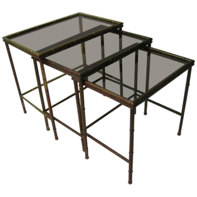 Mid Century Faux Bamboo Brass Nesting Tables, Italy For Sale