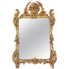18th Century, French Regence Mirror in Giltwood Frame