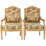 Pair of 18th Century Italian Carved Giltwood Armchairs