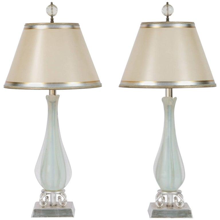 Pair of Mid-Century Opaline Italian Murano Lamps