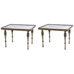 Pair of Mid-Century Bronze and Mirrored Tables