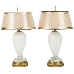 Pair of Mid-Century Italian Murano Iridescent Lamps