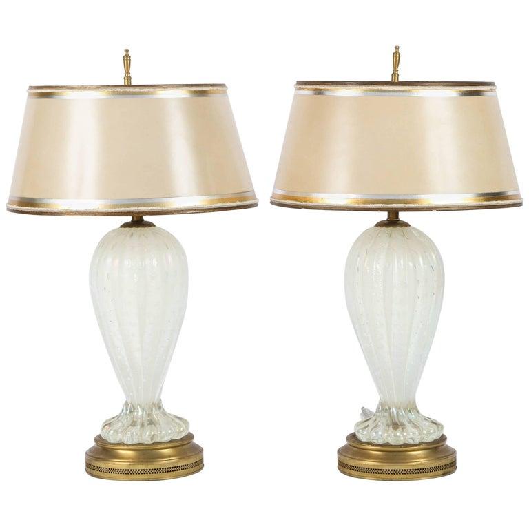 Pair of Mid-Century Italian Murano Iridescent Lamps For Sale