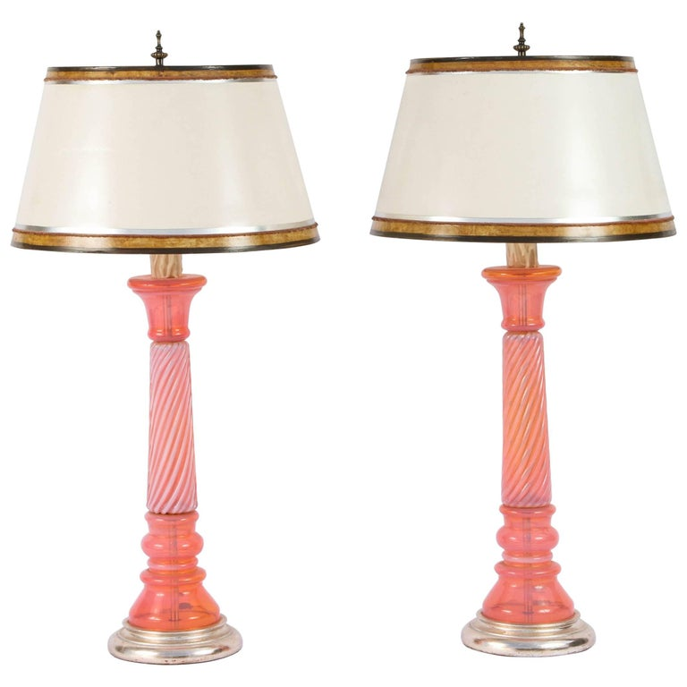 Pair of Mid-Century Coral Murano Opaline Lamps