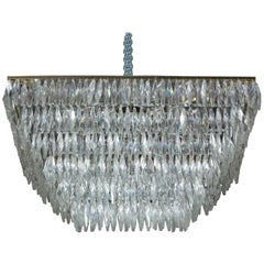 1960s Italian Rectangular Murano Crystal Chandelier