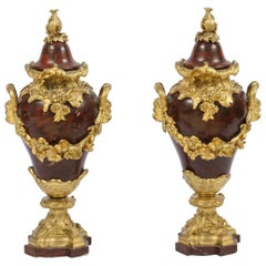 Pair of 19th Century French Rouge Marble Urns