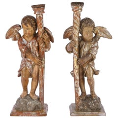Pair of 18th Century Italian Silver Leaf Cherub Candleholders