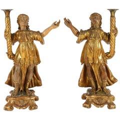 Pair of 18th Century Italian Giltwood Saints