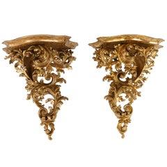 Pair of 19th Century, Italian Rococo Giltwood Brackets
