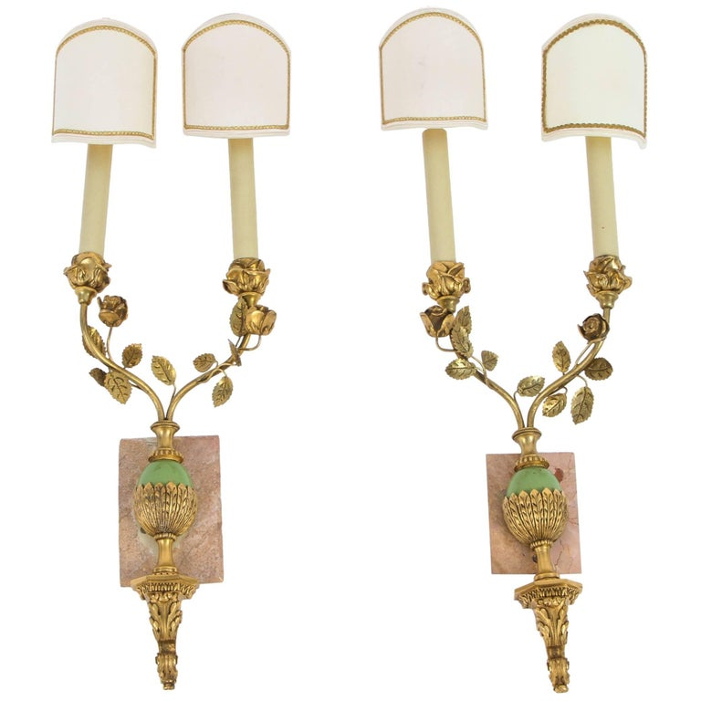 1900s Pair of French Doré Bronze Two-Arm Wall Sconces For Sale