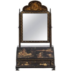 19th Century English Chinoiserie Miniature Desk with Mirror