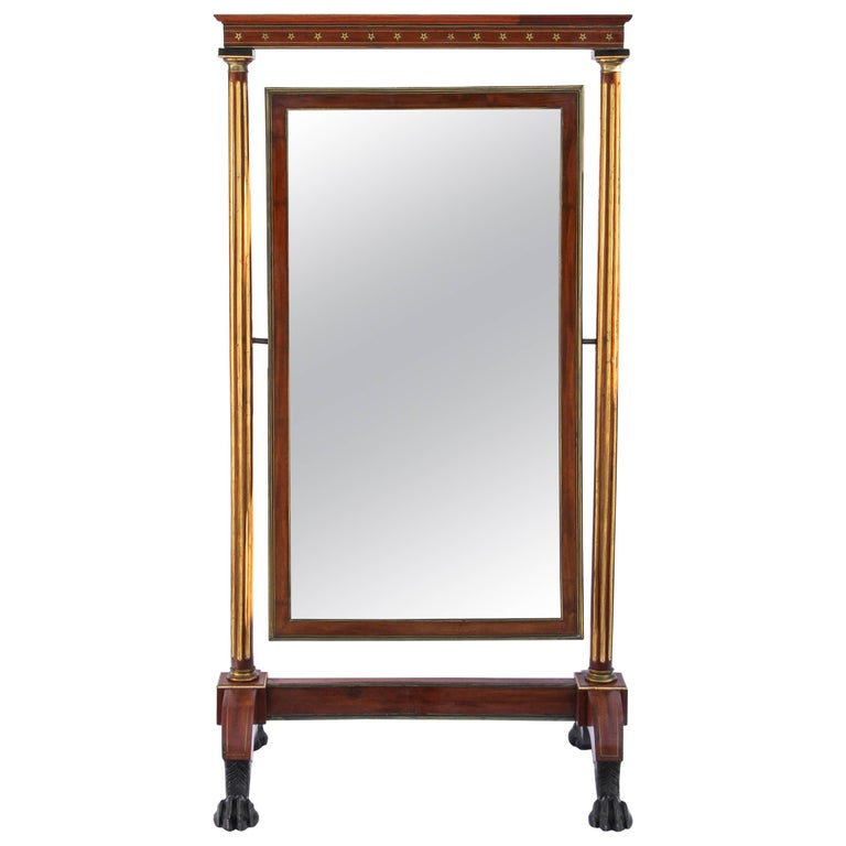 19th Century French Brass Mounted Cheval Mirror