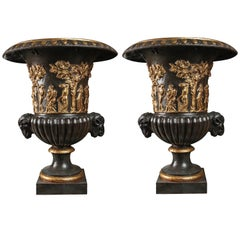Pair of Early 19th Century French Empire Campaign Urns