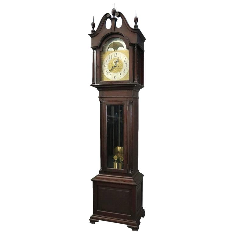 Antique Herschede Cherry Moon Phase Tall Case Grandfather Clock Circa 1900 At 1stdibs