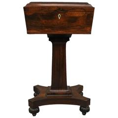 Antique European Classical Carved Rosewood and Bone Pedestal Tea Poy