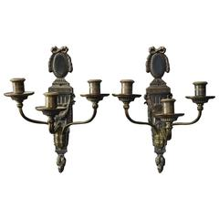 Pair of Federal Style Bronze Caldwell & Co Wall Sconce Candelabra, circa 1880
