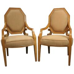 Pair of Vintage Neoclassical Giltwood Figural Upholstered Armchairs