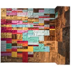 Color Riot 2016, mural of pixelated collage tiles, lacquered repurposed hardwood