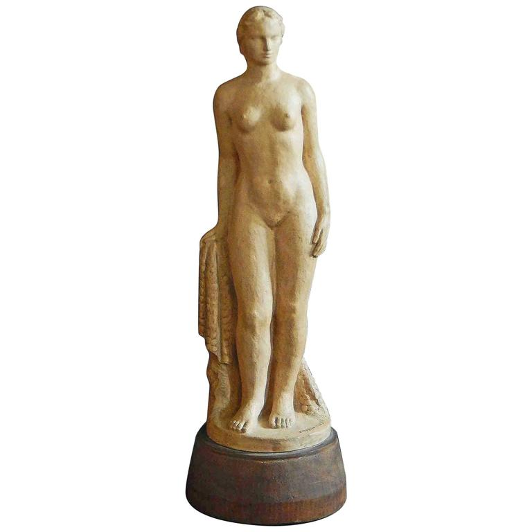 """Statuesque Female Nude,"" Superb Art Deco Sculpture by Mankowski"