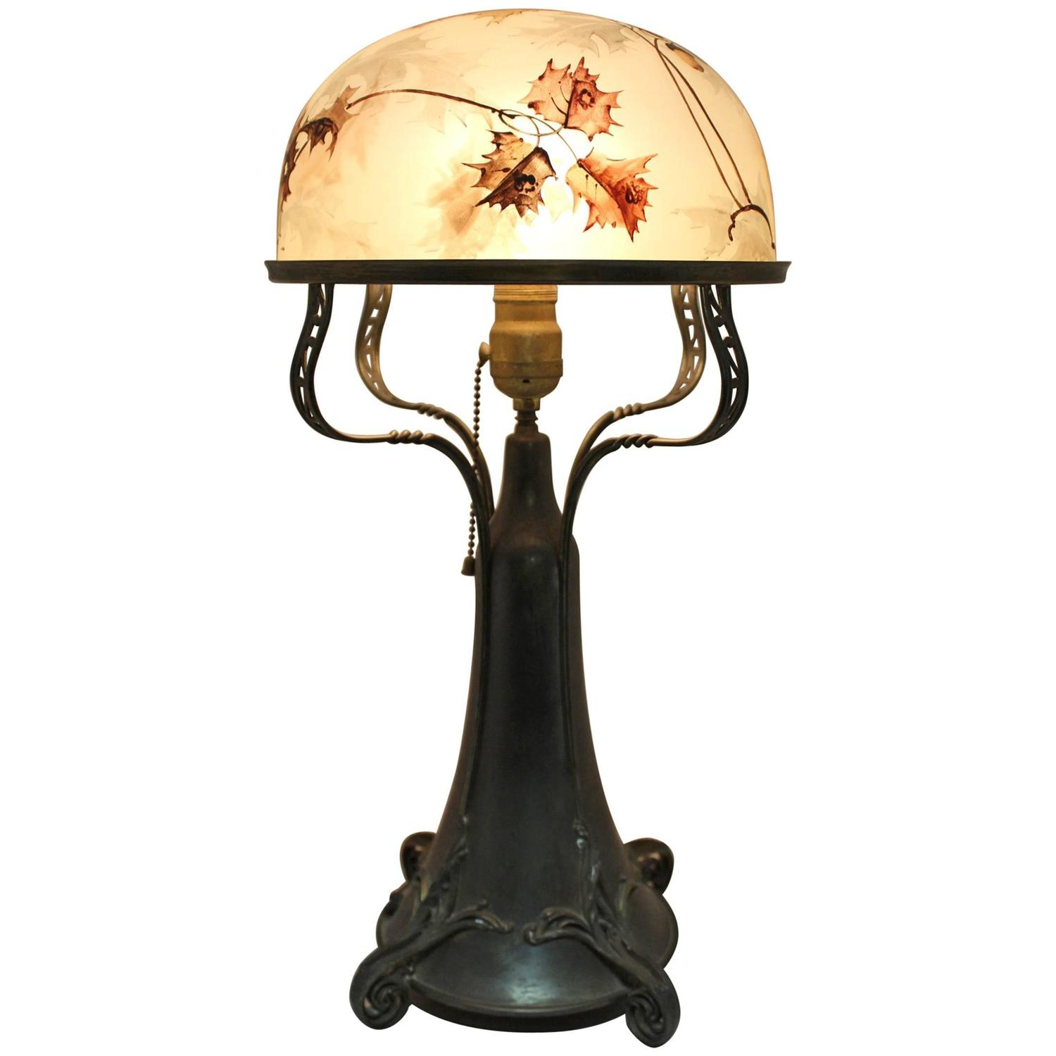 Set of art nouveau italian table lamp shades with three large art nouveau pairpoint dome shade table lamp with oak leaf and acorn motif geotapseo Image collections