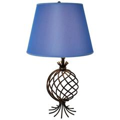 Blue Shade and Metal Table Lamp by Jean Royere Attributed, 1950