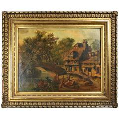 19th Century Antique European School Oil on Canvas Painting, Country Setting