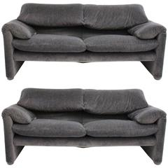 Pair of Two-Seat Sofas Maralunga by Vico Magistretti for Cassina, 1973