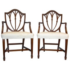 Pair of Hepplewhite Style Open Armchairs with Carved Feather Design Backs